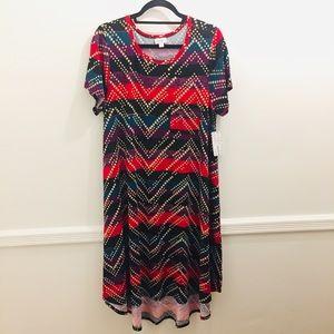 NWT Lularoe Carly Dress large stripes dots chevron